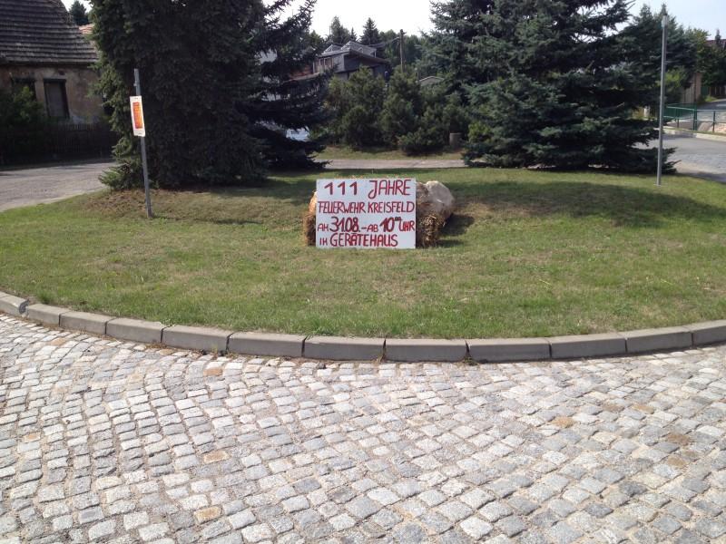 Ankündigung des Feuerwehrfestes in Kreisfeld.